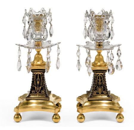 A PAIR OF GEORGE III ORMOLU-MOUNTED CLEAR AND BLUE GLASS CANDLESTICKS  ATTRIBUTED TO WILLIAM PARKER, THE GILT GLASS PEDESTALS POSSIBLY DECORATED BY JAMES GILES, LATE 18TH CENTURY