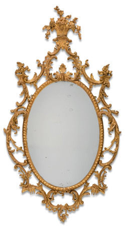 A PAIR OF GEORGE III GILT CARTON PIERRE OVAL MIRRORS  CIRCA 1765