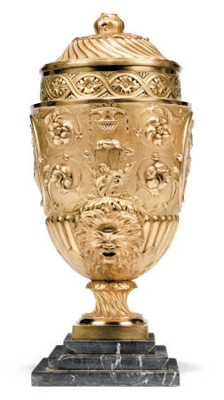 A VICTORIAN 'NEO-CLASSICAL' GILT-METAL VASE AND COVER  CIRCA 1880