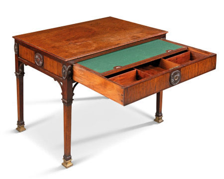 A GEORGE III MAHOGANY AND SATINWOOD-INLAID ARCHITECT'S TABLE  LATE 18TH CENTURY