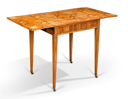 A GEORGE III SYCAMORE, SATINWOOD AND FRUITWOOD MARQUETRY PEMBROKE TABLE  CIRCA 1770, POSSIBLY BY JOHN LINNELL
