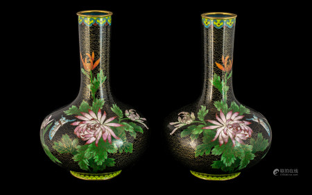 Pair of Chinese Antique Cloisonne Vases