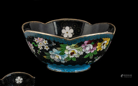 Chinese Cloisonne Shaped Bowl, decorated