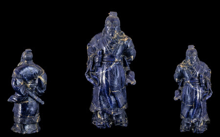Antique Chinese Large Carved Lapis Lazul
