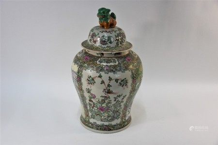 A large 20th century Chinese famille rose baluster jar with domed cover