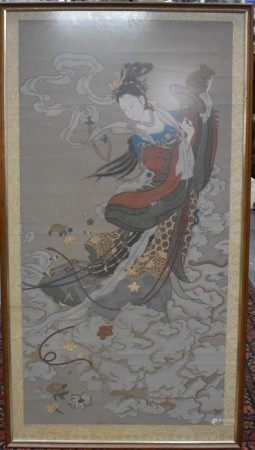 A Chinese coloured woodblock print, 95 cm x 48 cm