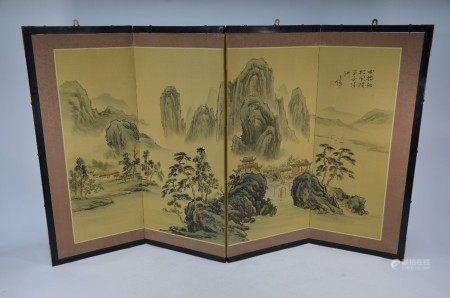 A 20th century Japanese folding screen, Byobu