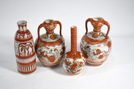 Four early 20th century Japanese Kutani vases