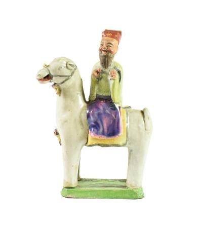 A Chinese Porcelain Figure of a Sage, Qing Dynasty, possibly 18th century, on horseback, on a
