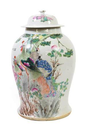 A Chinese Porcelain Baluster Jar and Cover, late 19th/early 20th century, painted in famille rose