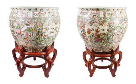 A Pair of Cantonese Porcelain Fish Bowls, 20th century, typically decorated with figures in