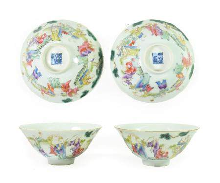 A Pair of Chinese Porcelain Rice Bowls, Daoghang reign marks, painted in famille rose enamels with