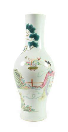 A Chinese Porcelain Vase, late 19th/early 20th century, of baluster form, painted in famille rose