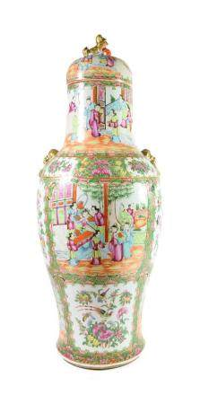 A Cantonese Porcelain Baluster Vase and Cover, 2nd half 19th century, with mythical beast finial and