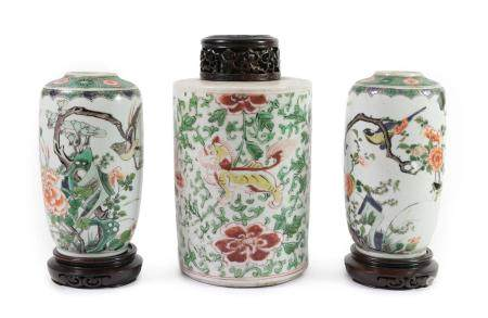 A Pair of Chinese Porcelain Ovoid Jars, in Kangxi style, painted in famille verte enamels with birds