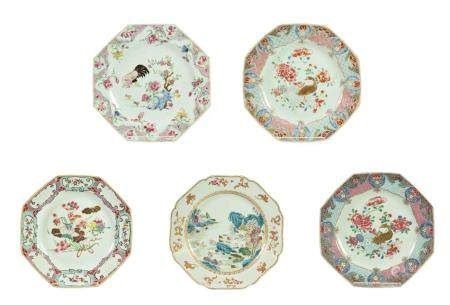 A Chinese Porcelain Plate, Qianlong, of octagonal form, painted in famille rose enamels with a river