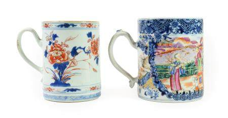 A Chinese Imari Porcelain Mug, circa 1730, of cylindrical form with strap handle, typically