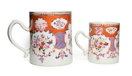 A Chinese Porcelain Mug, Qianlong, of cylindrical form, painted in famille rose enamels with