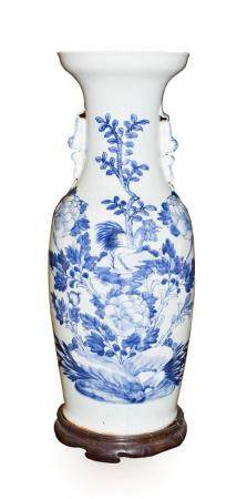 A Chinese Porcelain Baluster Vase, 19th century, the trumpet neck with mythical beast handles,
