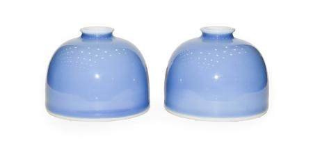 A Pair of Chinese Clair de Lune Glazed Brush Pots, Kangxi reign marks but probably late Qing, of