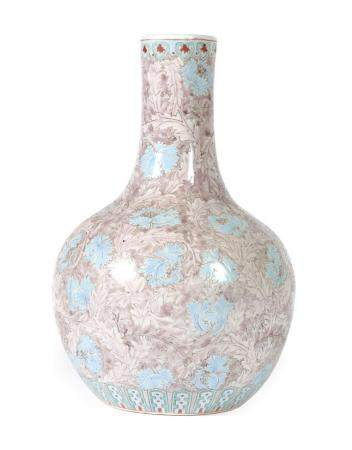 A Chinese Porcelain Bottle Vase, Tianquiping, early 20th century, painted in shades of pink and blue