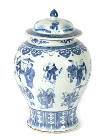A Chinese Porcelain Baluster Jar and Cover, Kangxi reign mark and possibly of the period, painted in