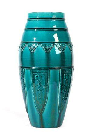 A Chinese Turquoise Glazed Vase, late Qing, in Archaistic style, of bullet form, moulded with