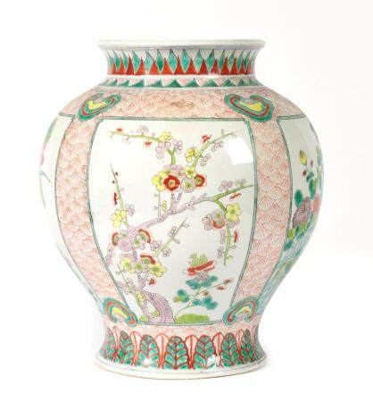 A Chinese Porcelain Jar, Qianlong reign mark but not of the period, of ovoid form with flared rim,