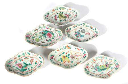 A Matched Set of Six Chinese Porcelain Lozenge Shaped Pedestal Dishes, late 19th/early 20th century,