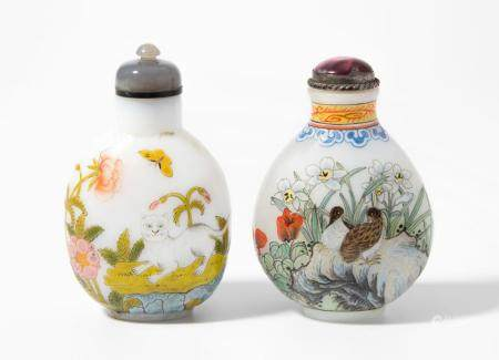 LOT 2 GLAS SNUFF BOTTLES