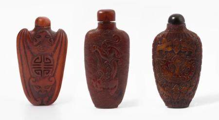 LOT 3 RHINOZEROSHORN SNUFF BOTTLE