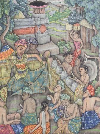 Balinesischer (Batu) Künstler (tätig 1930er Jahre), 'Tänzerin mit Musikern' / 'A dancer with musicians'