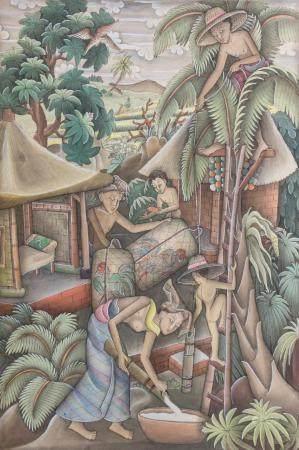 Balinesischer (Batu) Künstler (tätig 1930er Jahre), 'Dorfbewohner' / 'Villagers'