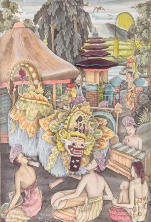 Balinesischer (Batu) Künstler (tätig 1930er Jahre), 'Dorfbewohner mit Barongmaske' / 'Villagers with barong mask'
