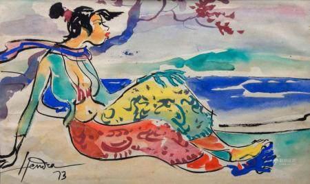 Hendra Gunawan (1918-1983), 'Balinesische Frau am Strand' / 'A Balinese woman by the beach'