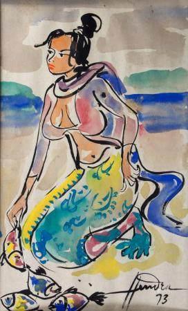 Hendra Gunawan (1918-1983), 'Balinesische Frau mit Fischen' / 'A Balinese woman with fish'