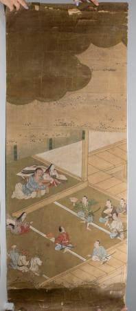 Japanisches Rollbild 'Schauspieler' / A Japanese scroll painting 'Actors'