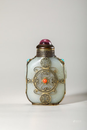 Chinese Celadon Jade Silver Wire Snuff Bottle