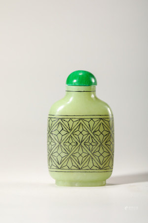 Chinese Silver-Inlaid Yellow Jade Snuff Bottle