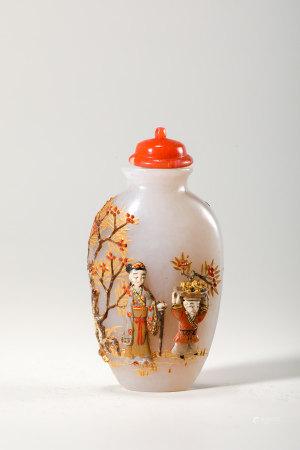 Chinese Embellished White Jade Snuff Bottle