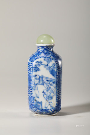 Chinese Blue White Snuff Bottle, Marked