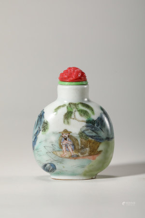 Chinese Famille Rose Snuff Bottle, Marked
