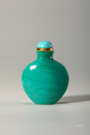 Chinese Turquoise Like Glass Snuff Bottle