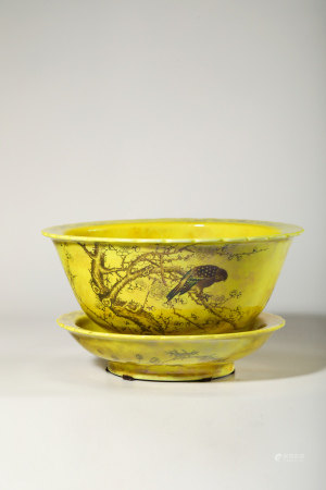 Chinese Yellow Ground Porcelain Planter's Pot