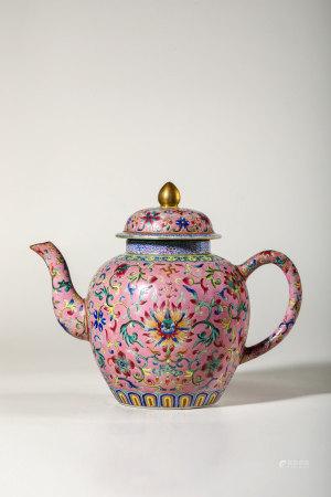 Chinese Famille Rose Porcelain Tea Pot, Marked