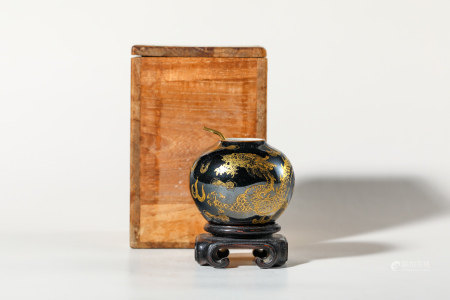 Chinese Gilded Noir Glazed Porcelain Water Coupe