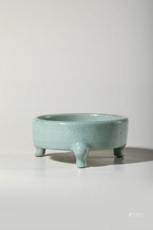 Chinese Pale Celadon Glazed Tripod Censer, Marked