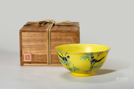 Chinese Famille Rose Yellow Ground Porcelain Bowl, Marked