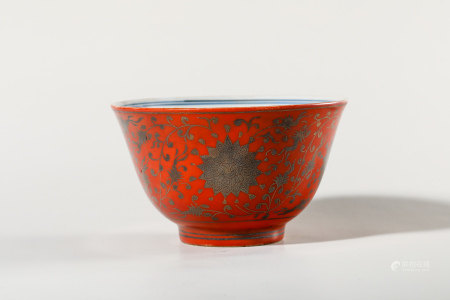 Chinese Gilded Coral Glazed Blue White Porcelain Bowl