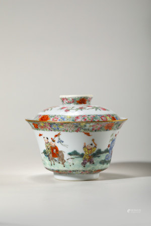 Chinese Famille Rose Porcelain Bowl, Marked